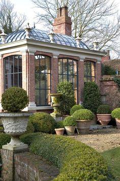 A beautiful orangery, (or greenhouse) belgian architecture. Outdoor Rooms, Outdoor Gardens, Outdoor Living, Outdoor Sheds, Casas Tudor, Beautiful Gardens, Beautiful Homes, Beautiful Places, Dream Garden