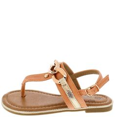 LILY01 PEACH CHAINED SNAKESKIN KIDS SANDAL ONLY $10.88
