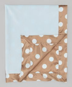 Take a look at this Blue & Mocha Velvet New Dot Deluxe Satin Stroller Blanket by Little Giraffe on #zulily today!