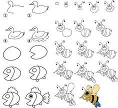 apprendre à dessiner enfants-abeilles-colorees-poisson-nageoire