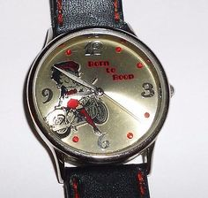 "Here we have a Betty Boop On A Motorcycle Born to Boop Watch. It is approx 9"" long. It is in good condition. It does have some wear from use. It has a new battery."