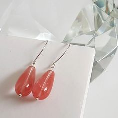Cherry Quartz Artisan Silver 925 Earrings | Kalitheo – Kalitheo #sterlingsilverearrings #ArtisanEarrings #GiftForHer #TeardropEarrings