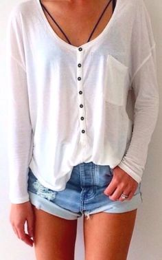 ootd | white basic top and denim shorts