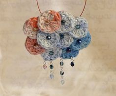 Crochet necklace - sea sunset, blue-red hand dyed silk, lacy and delicate handwork by burma refugees