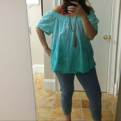 OMBRÉ textured blouse can be worn off the shoulder Several towns of turquoise on a beautifully textured floral blouse sweet or sexy... Your choice Kim Rogers Tops Blouses
