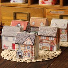 Envío gratis mini europa estilo pequeña casa caja de la lata del socorro stereo pequeño estaño caja de almacenamiento kit 12 unids/lote