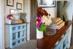 Diez proyectos para decorar con pallets - LA NACION Entryway Tables, Diy, Furniture, Home Decor, Ideas, Wooden Boards, Table Decorations, Ornaments, Hang Photos