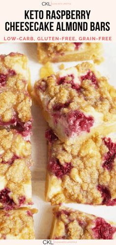 These Keto Raspberry Cheesecake Bars are going to be your new favorite keto dessert! They are a keto, low-carb, grain-free, gluten-free treat made to share with family and friends. Gluten Free Grains, Gluten Free Treats, Gluten Free Desserts, Quick Easy Desserts, No Cook Desserts, Raspberry Cheesecake Bars, Oreo Cheesecake, Almond Bars, Gluten Free Cheesecake