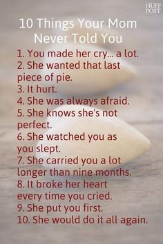 10 things your mum never told you. This made me cry this morning after a couple of days of conflict with my boys.
