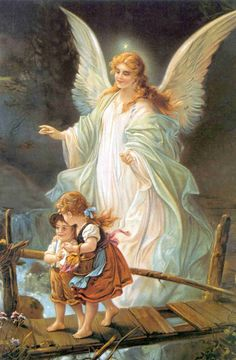 Always Rembember this picture hanging in my Grandma's House  Angel Prayer:  Angel of God,  my Guardian dear,  to whom His love  commits me here,  ever this day (or night)  be at my side,  to light and guard,  to rule and guide.  Amen.