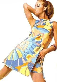 Printed summer dress by Grès, 1967, love the hair!