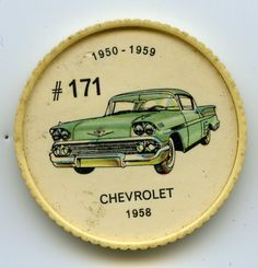 Jello-O Coin 171 - Chevrolet (1958) - General Motors introduced a re-styled Chevrolet in 1958. When other com petitors emphasized tail fins, Chevrolet used clean body lines with a minimum of chrome. Engineering features include the use of an X-shaped frame, coil springs at all four wheels and a new V-8 engine with 250 horsepower.