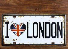Vintage I Love London License Car Plate Tin Sign Home Cafe Bar Wall Decor Poster