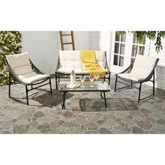 Safavieh Berkane 4 Piece Deep Seating Group with Cushions