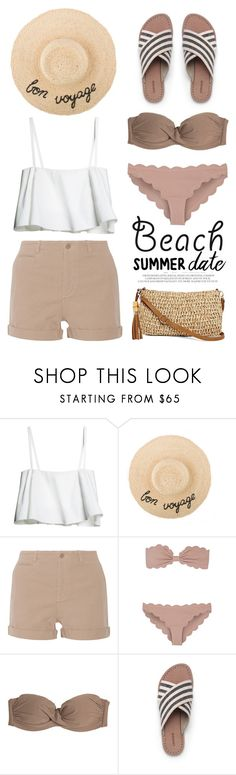 """Summer Date: The Beach"" by miee0105 ❤ liked on Polyvore featuring NLST, Marysia Swim, Luli Fama, Lands' End, Straw Studios, beach and summerdate"
