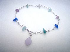 ocean beads silver sea dangling sterling color ip glass anklet