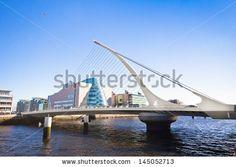 DUBLIN, IRELAND - APR 2:  Landmark Samuel Beckett Bridge in Dublin Ireland on April 2, 2013:  Designed by Santiago Calatrava, this bridge opened in 2009 and is named after Irish writer Samuel Beckett - stock photo