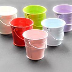 Pink 4 cm metal bucket - Metal Buckets and Pots