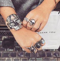 An epic TGF collection: Skull Cuff (link in bio for closer look), Rock N Roll with Skull ring, New Skool Skull ring, Small Kudu ring, Ghost Warrior ring, and the Small Navajo with Blue Moonstone. #since1972 #thegreatfrog #thegreatfrogla