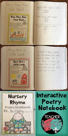 Poetry Notebook: Nursery Rhyme Edition.  Perfect for fluency, phonics, comprehension...  TeacherKarma.com