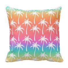 Tropical Sunrise - Palm Trees Pillow
