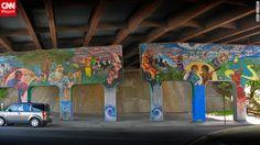Street art spray painted under a bridge in Asheville, North Carolina.