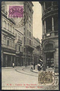 São Paulo - Começo da Rua Direita - Cartão Postal antigo original, nº 46, editor não mencionado, cir
