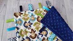 Personalized Tag Blanket Boy Tag Blanket Monkey Tag by DoubleVBaby