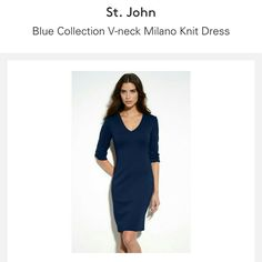 St. John V-Neck Dress Blue Collection V-Neck dress. 3/4 sleeves with small slit opening. Back invisable zipper with hook closure. 53% wool, 47% rayon. St. John Dresses