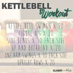 I Hear Bells...Kettlebells! Great Kettlebell workout...definitely a calorie scorcher! Great for toning and building lean muscles!