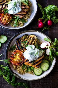 Healthy Recipes : Illustration Description Grilled Salmon Tzatziki Bowl- a fast and delicious weeknight meal loaded up with healthy veggies! Grilling Recipes, Fish Recipes, Seafood Recipes, Cooking Recipes, Healthy Recipes, Tilapia Recipes, Salad Recipes, Clean Food Recipes, Tasty