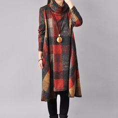 Women Cotton Loose Autumn Dress