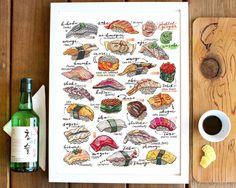 Sushi Print. Illustration. Japan. Food art. Kitchen decor. Nigiri poster.