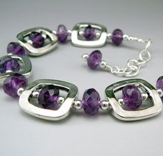 Purple Amethyst Bracelet Amethyst Jewelry by TouchOfSilver on Etsy, $31.00