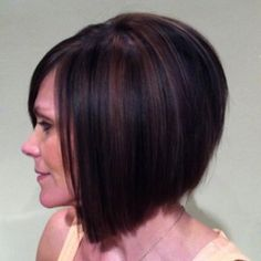 Slightly inverted bob with copper and black highlights/lowlights.