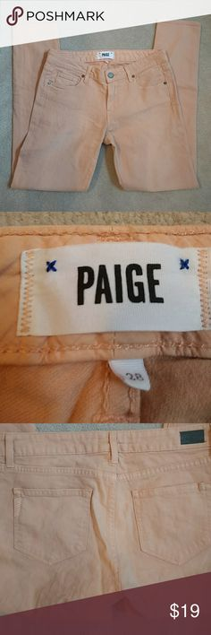 """NEW Paige Denim Peach Colored Skinny Jeans Never worn Paige jeans in a summery peach color! Features a classic skinny leg, 29"""" inseam, and 5 pocket style. Back features signature Paige pocket stitching as well as a leather logo tag. Wear these with a white tee and sandals for an effortless late summer look! PAIGE Jeans Skinny"""