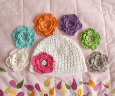 crocheted hat with flowers to swap out.