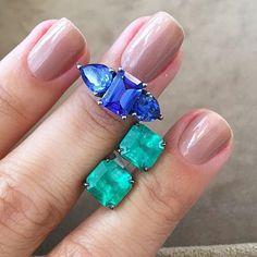 Take a Step into this colors , solitarios de Esmeralda colombiana 10 X R$2980,00  e anel maravilhoso em solid stones, tanzanitas em ouro branco com rodio negro, 10 X R$1490,00 shopnow@beatrizwerebe.com.br ou ☎️930120002