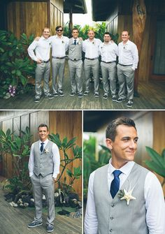 light grey and blue groomsmen with starfish boutonnieres