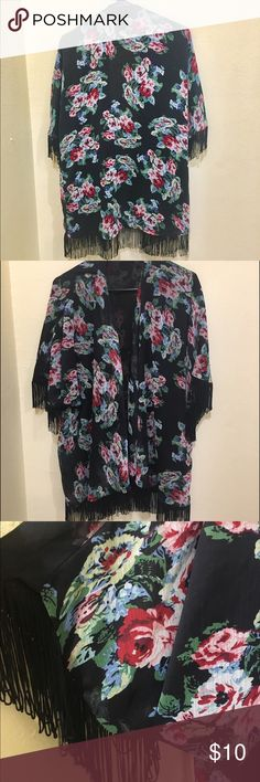 Kimono floral Cute black floral kimono fits S-L has red floral design fits well and comfortable for any occasion with fringe in the sides #kimono Millau Tops Blouses