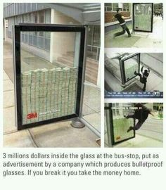 Advertisement for bulletproof glasses (juli 2013).