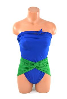 Large Bathing Suit Kelly Green and Royal Blue Wrap Around Swimsuit Preppy Womens and Teens Swimwear