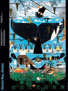 Charley Harper Posters featuring wildlife from US National Parks. Part of the series for the US Department of Interior.