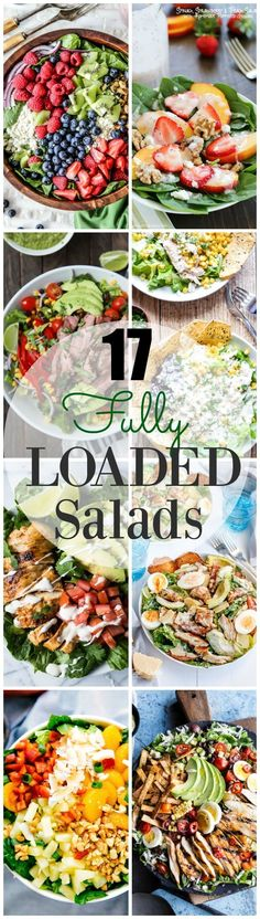 17 Loaded Salad Recipes = the ONLY way to eat salad! You have to check out these 17 fully loaded salad recipes sure to satisfy any hunger craving! Healthy Snacks, Healthy Eating, Healthy Recipes, Healthy Tips, Healthy Salad For Lunch, Healthy Salad With Chicken, Recipes For Salads, Salads For Dinner, Salad Recipes To Lose Weight