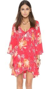 Free People Women's Multi-color 'Eyes On You' Trapeze Dress( 2, Poppy Combo)