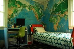 Cool room!  From: http://www.interiordesignstory.com/2009/07/maps-for-boys-rooms-easy-cheap-and-cool.html
