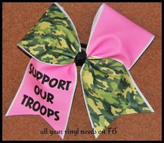 Support our troops pink CAMO cheer bow Camo Bows, Pink Camo, Cute Cheer Bows, Big Bows, Cheer Makeup, Cheerleading Bows, Cheer Coaches, Train Up A Child, Cheer Shirts