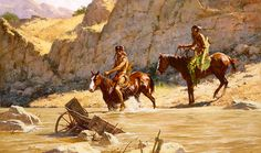 """A word about The River's Gift by Howard Terpning. Opportunity and misfortune often traveled hand in hand in the Old West as Howard Terpning's """"The River's Gift"""" Native American Paintings, Indian Paintings, Native American Indians, Cherokee Indians, Oil Paintings, Native Indian, Indian Art, Native Art, Howard Terpning"""