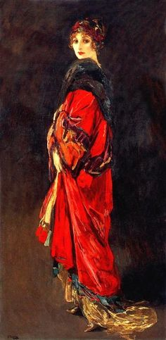 Hazel in Rose and Gold - by Sir John Lavery
