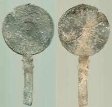 Roman lead amulet miniature mirror